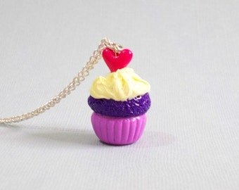 Love Cupcake Pendant, polymer clay cupcake, cupcake charm, miniature cupcake, clay cupcake pendant, cupcake necklace, valentine's day