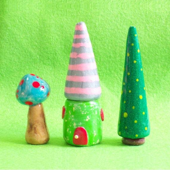 Mini Movable village - set C (House, Tree, Mushroom), home decore, miniature house, miniature tree, miniature mushroom