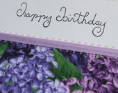 Happy Birthday Lilacs - handmade fabric card