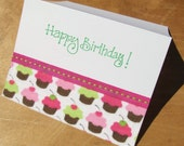 Birthday Cupcakes card - handmade fabric greeting card