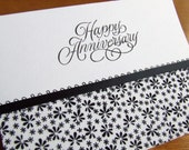 Anniversary card - Black and white floral fabric handmade card