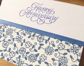 Anniversary Card - Happy Anniversary Blue and Cream Floral Fabric Handmade Greeting Card