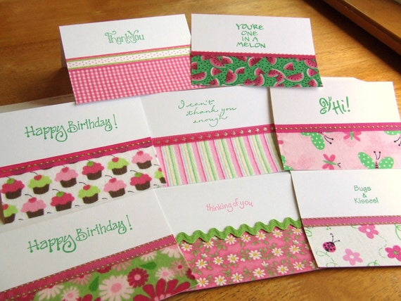 Super Sweet Pink and Green Variety Pack-set of 8 handmade fabric greeting cards