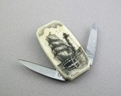 Scrimshaw Money Clip Knife with Vertical Ship and Lighthouse