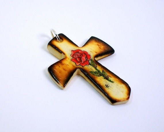 Scrimshaw Bone Cross Pendant with Red Rose