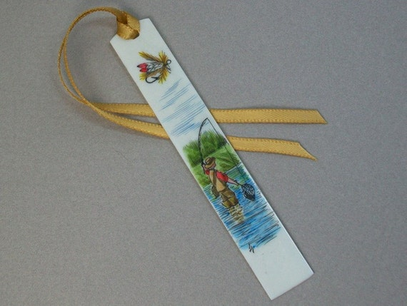 Scrimshaw piano key bookmark, fly fishing in river