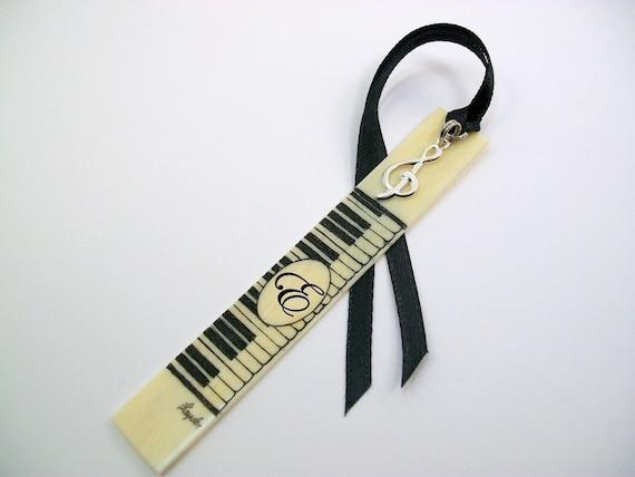 Custom Scrimshaw piano keys bookmark with initial