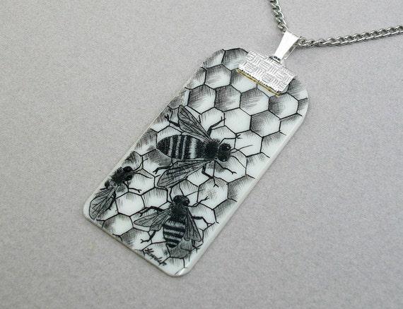 Ivory Piano Key Head  Scrimshaw Honeybees Necklace