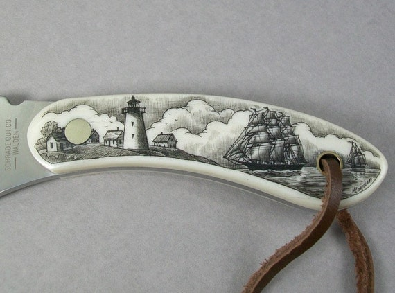 Scrimshaw fixed blade knife and leather sheath,sharpening rods, Nautical, seashore village, lighthouse and ships