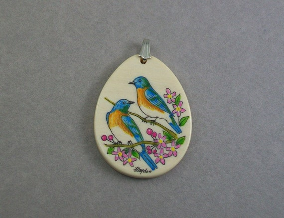 Scrimshaw Ivory Pendant with a Pair of Bluebirds