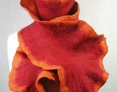 Flamenco Felt Scarf - Orange/Red -  Reversible