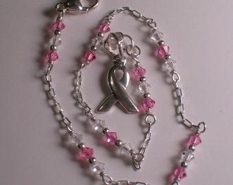 Swarovski Crystal and Sterling Silver Breast Cancer Awareness Anklet