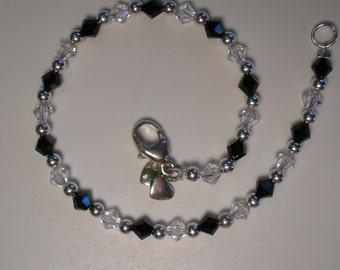 Handmade Jet Black and Crystal Shadow Swarovski Crystal Bracelet