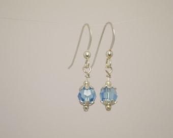 Aqua Swarovski Crystal and Sterling Silver Drop Earrings