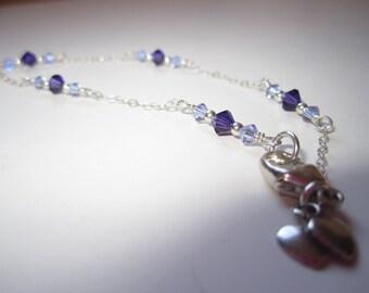 Violet and Purple Velvet Swarovski Crystal and Sterling Silver Bracelet