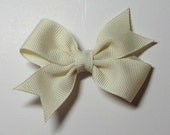 DOLLAR SALE - Ivory Antique White Mini Half Pinwheel Bow Great for Infants and Toddlers