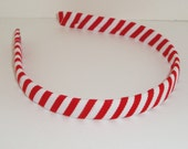 Free USA Shipping Over 20 - Peppermint Candy Cane Red and White Simple Ribbon Wrapped Headband