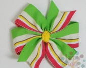 Free USA Shipping Over 20 - Summer Stripes Hot Pink Lime Green White Yellow Pinwheel Bow