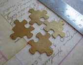 6 Brass Stampings Vintage jigsaw puzzle pieces perfect for Clip art, etching, patinas and jewelry making