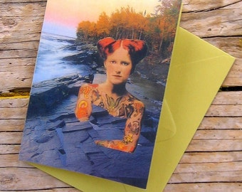 Rock Girl Collage Art Note Card - Blank - 3 1/2 x 5 inches