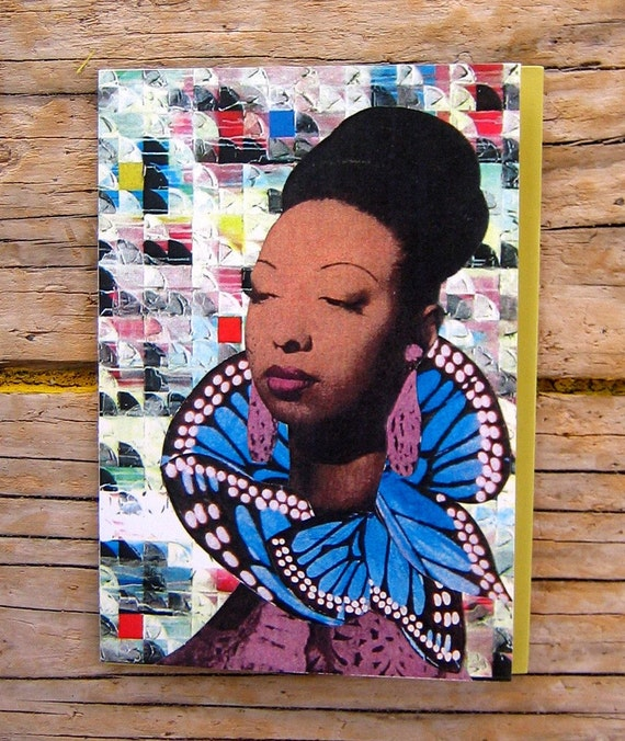 Butterfly Queen Collage Art Note Card - Blank - 3 1/2 x 5 inches