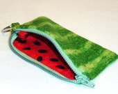 Watermelon Mini Coin Purse with Zipper and Key Ring