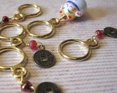 Lucky Cat and Coin Stitch Markers