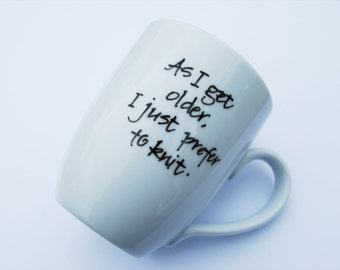 Calligraphy Mug for Knitters