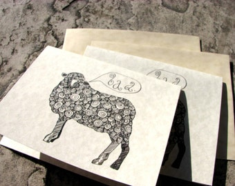 Set of 6 Curly Sheep Notecards