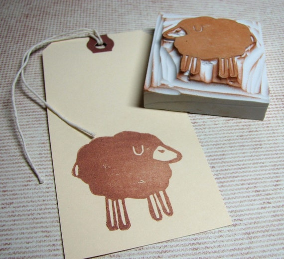 Hand-Carved Fluffy Sheep Rubber Stamp