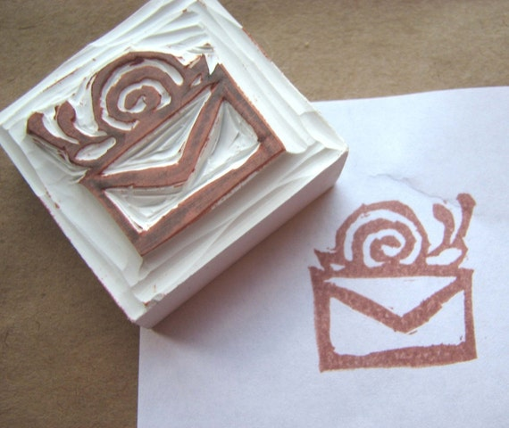 Snail Mail - Hand Carved Rubber Stamp
