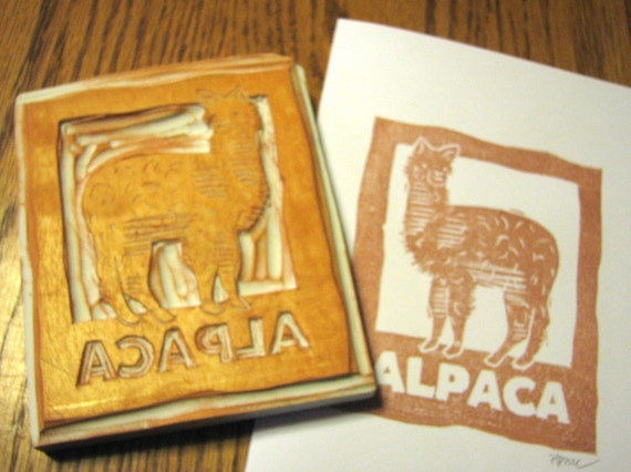 Hand-Carved Alpaca Rubber Stamp