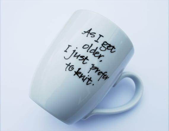 Calligraphy Mug for Knitters
