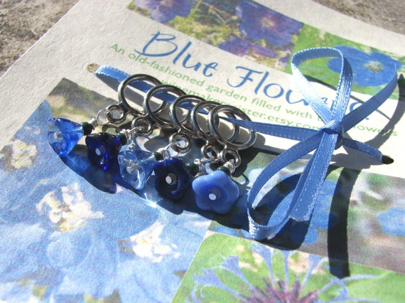 Blue Flower Stitch Markers