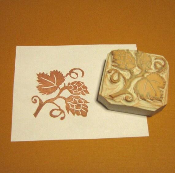 Hand-Carved Hops Rubber Stamp