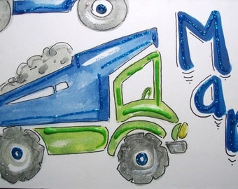 Hand personalized boys truck room name sign