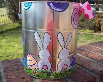 Hand painted personalized easter bucket or easter basket for girls with sweet rabbits and polka dots