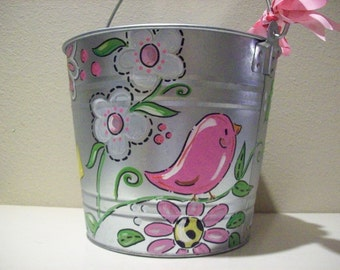 Hand painted personalized girly bucket with flowers and birds perfect for any room