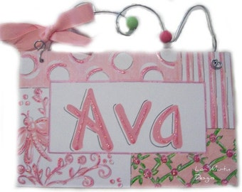 Hand personalized sweet pink and green girly name room sign with roses and butterflies