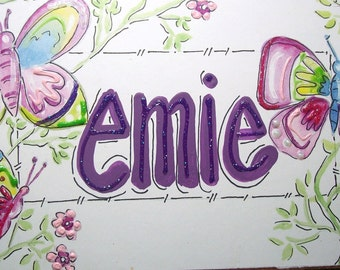 Hand personalized butterflies room name sign