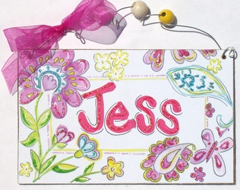 Hand personalized girls room name sign