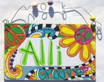 Peace and Groovy hand personalized sign