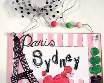 Hand personalized french poodle paris girl name room sign