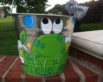 Handpainted personalized frog bucket perfect for gift giving large 12 quart