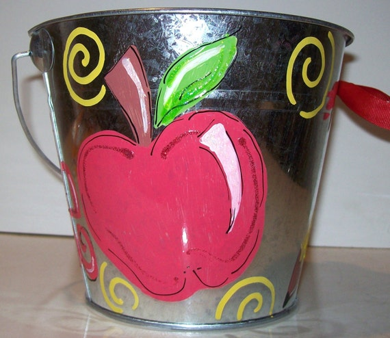 Teacher gift bucket hand painted and personalized perfect for classroom decor