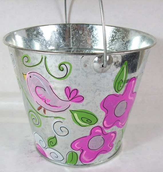 Hand painted personalized galvanized bucket with sweet birds, flowers and dragonflies