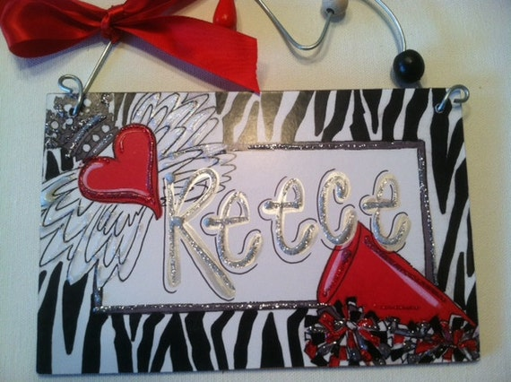 Hand personalized fun and funky cheerleader sign