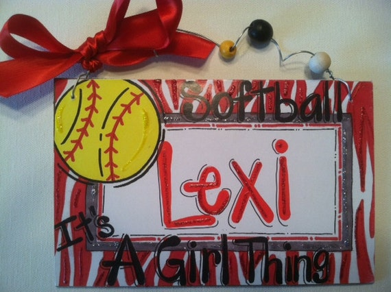 Hand personalized softball girly sign