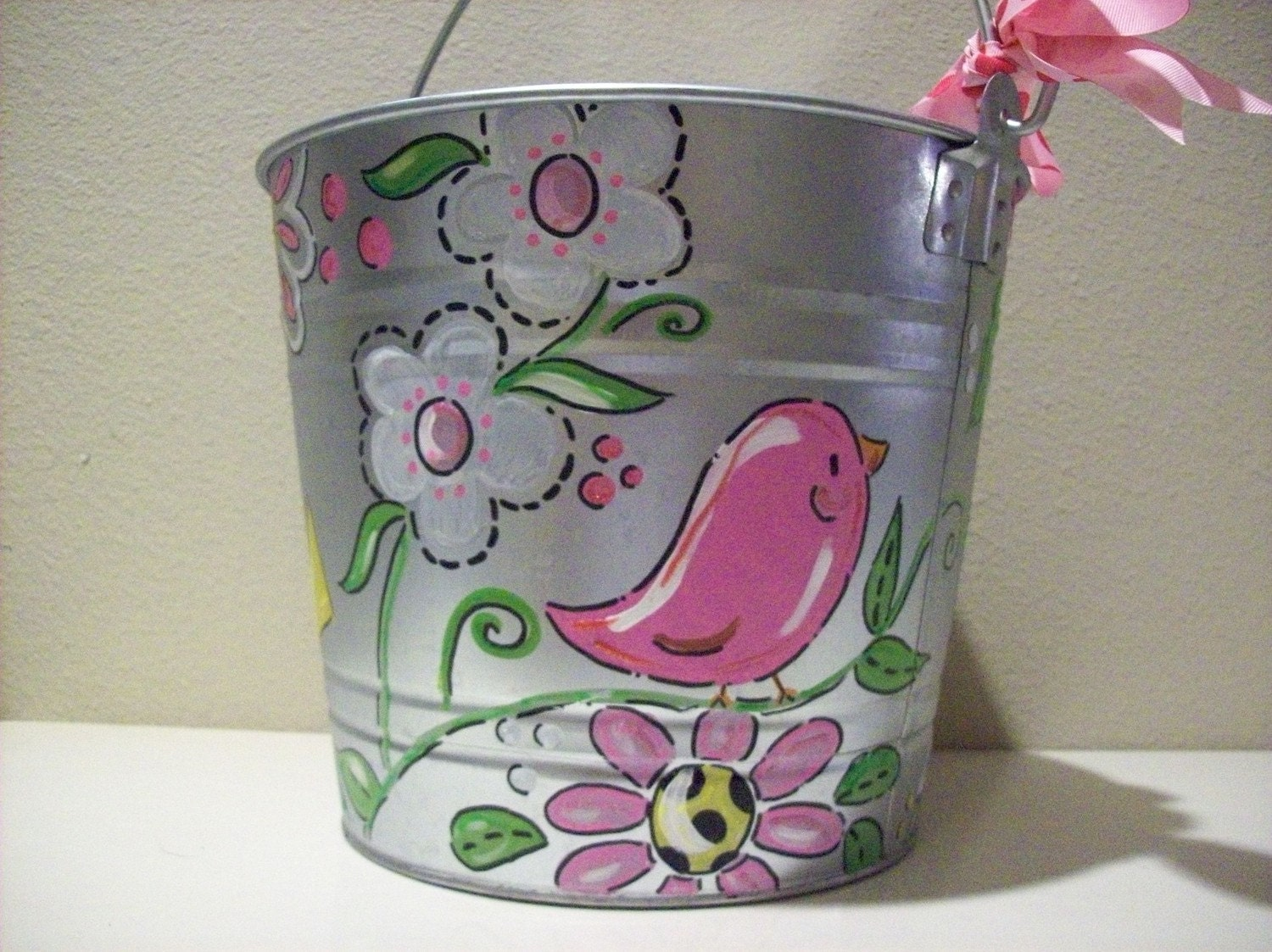 Hand Painted Personalized Girly Bucket With Flowers And Birds
