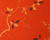 Fabulous Leaves & Vine on Orange- Silk Kimono Fabric Yardage